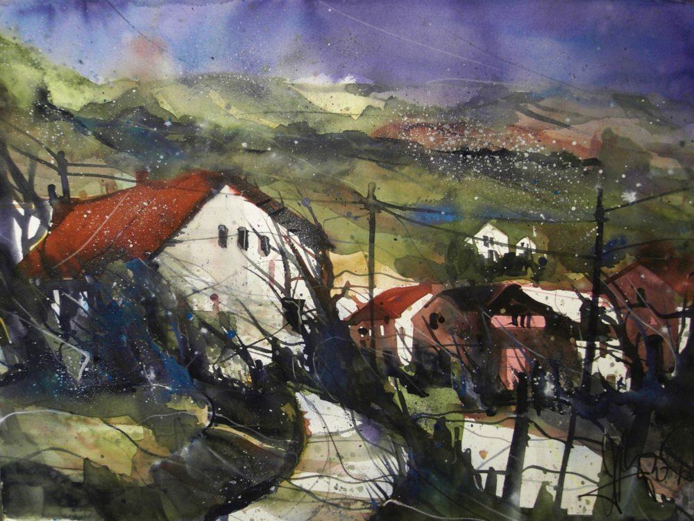Landschaft (um die Ahr), Watercolor, 56/76 cm