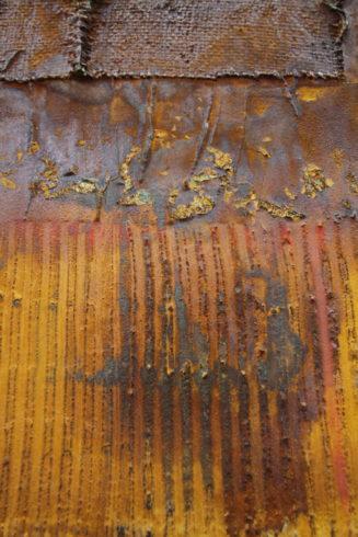 Casani Holzkörper mit Gewebe und Guardi Spachtelmasse, bearbeitet mit Oxido Oxidationsmedien