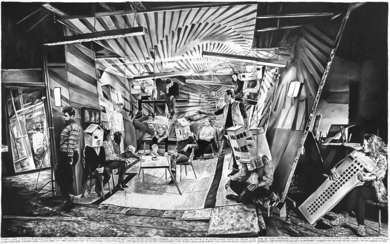 Rinus Van de Velde, 'Insanity exceeds the borders of the single mind,...', 2015, 300 cm x 480 cm, charcoal on canvas, Courtesy Tim Van Laere Gallery, Antwerp