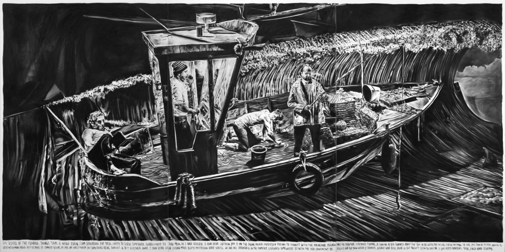 Rinus Van de Velde, On board of the Conrad, things take a weird turn., 2016, 300 x 600 cm, charcoal on canvas, artist frame, Courtesy Tim Van Laere Gallery, Antwerp