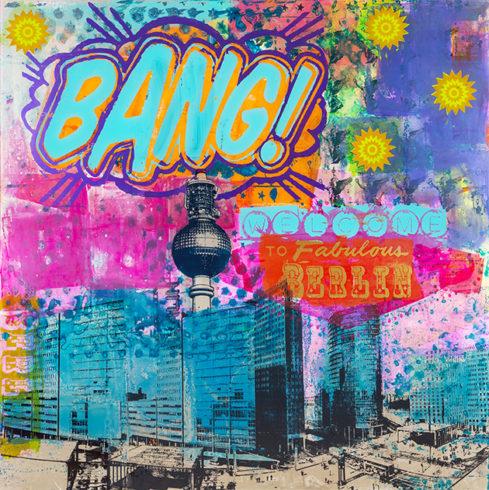 Sandra Rauch Berlin Bang Bang 2013 Mischtechnik auf Acryl 200 x 200 cm