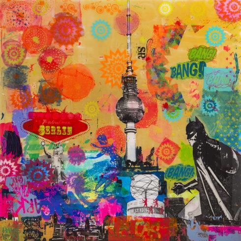 Sandra Rauch Berlin Pin 2012 Mischtechnik auf Acryl 200 x 200 cm