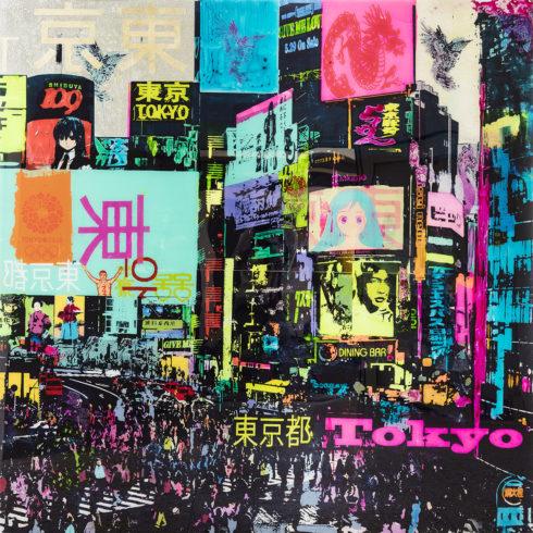 Sandra Rauch Good traffic in Shibuya 2016 Mischtechnik auf Acryl 200 x 200 cm