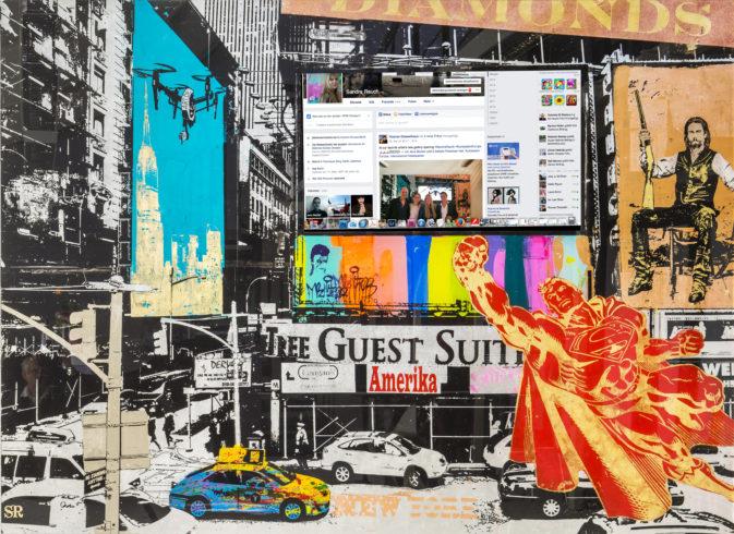 Sandra Rauch TV Acrylic Superman 2015 TV /SLK Plexiglas 200 x 250 cm