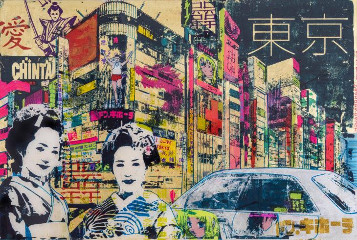 Sandra Rauch Tokyo, Shinyuko 2015 Mischtechnik auf Acryl 80 x 120 cm