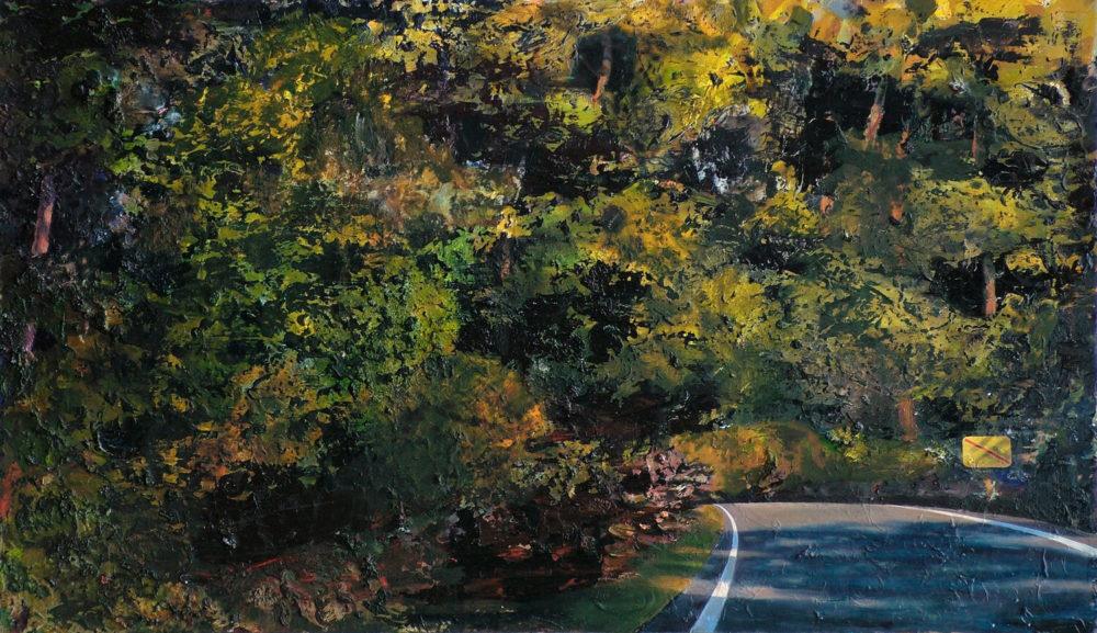 Landauswärts, 2008, Öl auf MDF, 80 x 138 cm