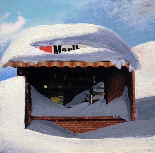 O.T. (Kiosk), 2010, Ölfarbe auf Fotographie, 10 x 10 cm