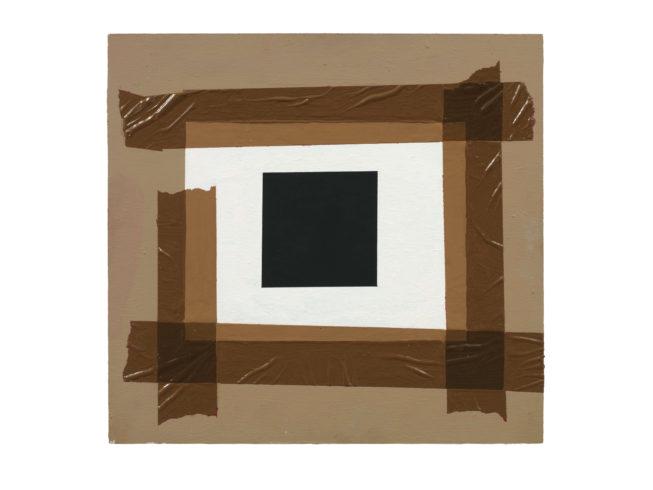 Studie zum schwarzen Quadrat, Öl auf Holz, 31 x 33 cm