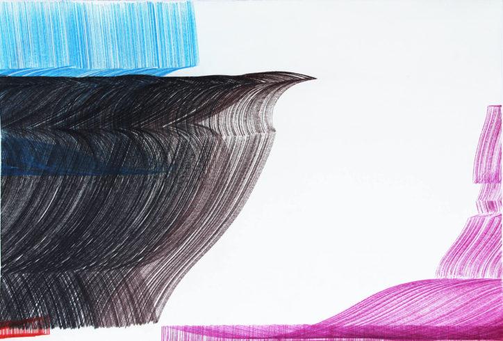 Kantenzeichnung 201503, 2015, Buntstift, 60 x 89,5 cm