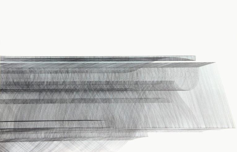 Kantenzeichnung 201304, 2013, Bleistift, 103,5 x 153 cm