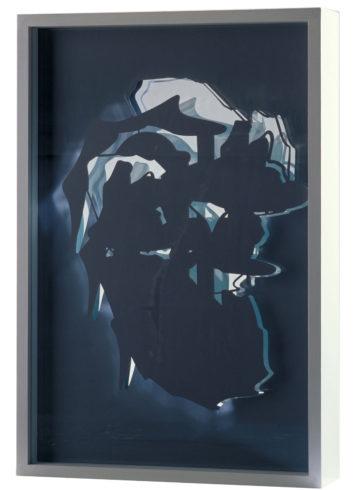 Raumschichtung, 2005, Folie, Glas, Holz, 64 x 42 x 10 cm