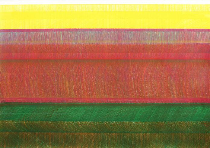 Kantenzeichnung 201301, 2013, Buntstift, 103 x 157 cm