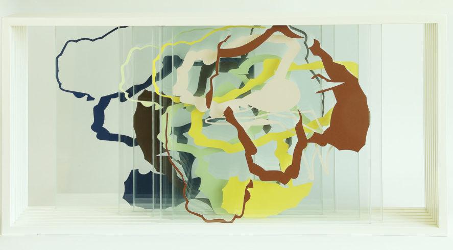 Verschiebbare Raumschichtung, 2015, Karton, Glas, Holz, 65 x 124,5 x 20 cm