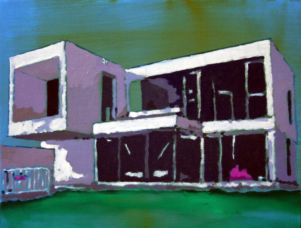 Bauhaus, Öl auf Papier, 24,5 x 32 cm, 2017