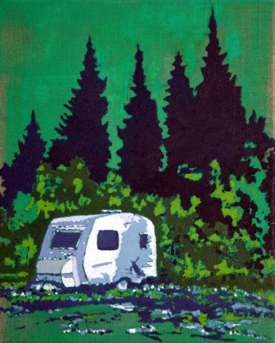 Beyond the pines, Öl auf Leinwand, 50 x 40 cm, 2017