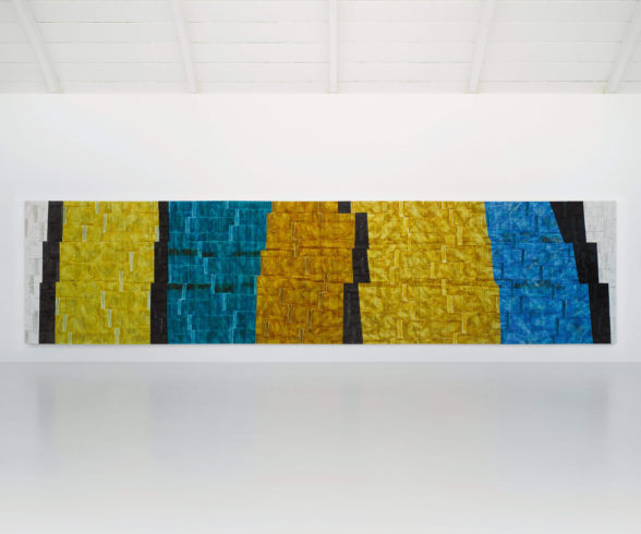 Herbert Maier, Speicher/Grosses Mexiko, 2008/2009, Öl auf Leinwand, 240 x 990 cm, dreiteilig, © Herbert Maier, Foto: Bernhard Strauss
