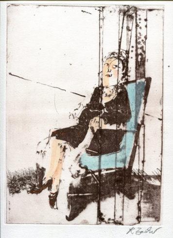 Frau im Spiegel, Intagliotypie, 70 x 50 cm, Foto: Rosemarie Zacher