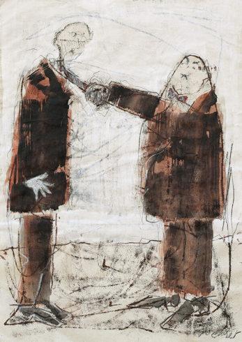 Schlawittel, Monotypie, überarbeitet, 70 x 50 cm, Foto: Rosemarie Zacher
