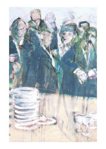 Sind S/sie dabei?, Acryl auf Leinwand, 120 x 80 cm, Foto: Rosemarie Zacher