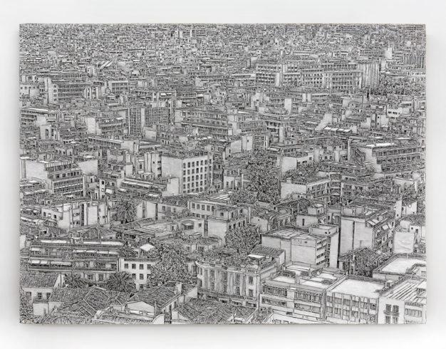 Athen, 2011, Wellpappenrelief, mit Gesso bemalt, Grafit, Permanentmarker, 220 x 300 x 25 cm © VG Bild-Kunst, Bonn 2018/ Martin Spengler, Foto: Martin Spengler