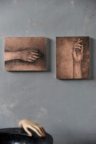 Tusche und Feder auf dünn gewalzter Acrylgrundierung