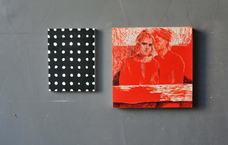 Links: Arylfarbe, rechts: Acrylfarbschichten gewalzt / Zeichnung mit Radiernadel geritzt, mit Tusche vertieft