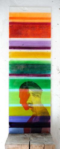Linea-Platten, montiert, rückseitig Glasmalfarben / bemalte Leinwand zwischen den Platten