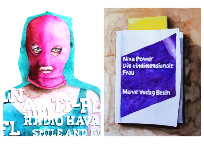 jew. o.T. aus : I ♥ FEMINISM, 2012–17, Aquarell/Papier, links: 40 x 30 cm, rechts 32 x 24 cm, VG Bild-Kunst, Bonn 2018/ Kerstin Drechsel, Foto: Kerstin Drechsel