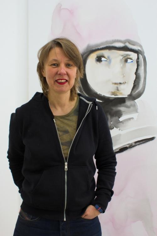 Kerstin Drechsel in der Galerie September, Berlin 2013 Foto: Matthias Reichelt