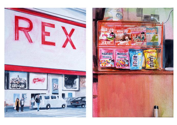 aus ciné, 2005-2008, jeweils Öl auf Leinwand 60 x 45 cm, VG Bild-Kunst, Bonn 2018, Foto: Silke Helmerdig