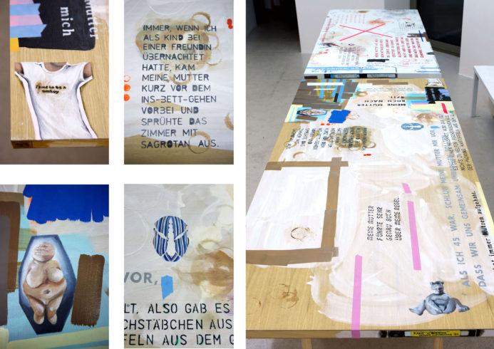 aus: zusammen, Acryl und Öl auf Holz, jew. 200 x 98,5 x 4 cm, Böcke, Ausstellungsansicht SEPTEMBER, Berlin, 2013; links: Details, Vg Bild-Kunst, Bonn 2018/ Kerstin Drechsel, Fotos: David Olivera
