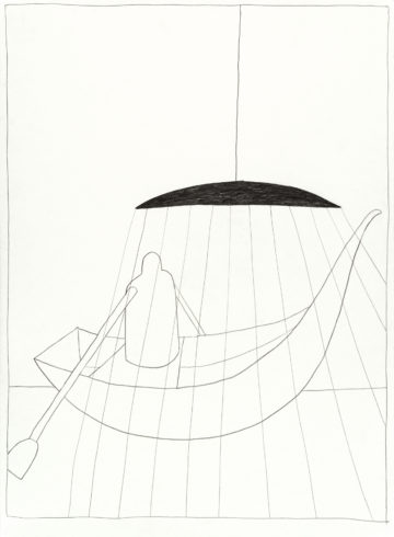 """Aus der Serie: """"Moritat vom Schweben"""", 2017, Grafit auf Büttenpapier, 76 x 56 cm © VG Bild-Kunst, Bonn 2018/ Barbara Wrede, Foto: Friedhelm Hoffmann, Berlin"""