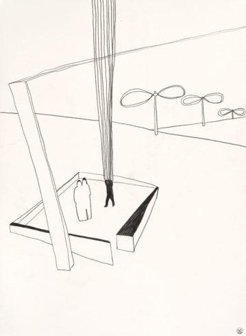 Aus der Serie: Fremde im Dorf, 2016 (Serie seit 1997), Grafit auf Büttenpapier, 76 x 56 cm © VG Bild-Kunst, Bonn 2018/ Barbara Wrede, Foto: ©Friedhelm Hoffmann, Berlin