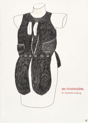 Aus der Serie: Trautes Heim, 2011 (Serie seit 2007), Grafit, Tusche und Klebeband auf Papier, 70 x 50 cm