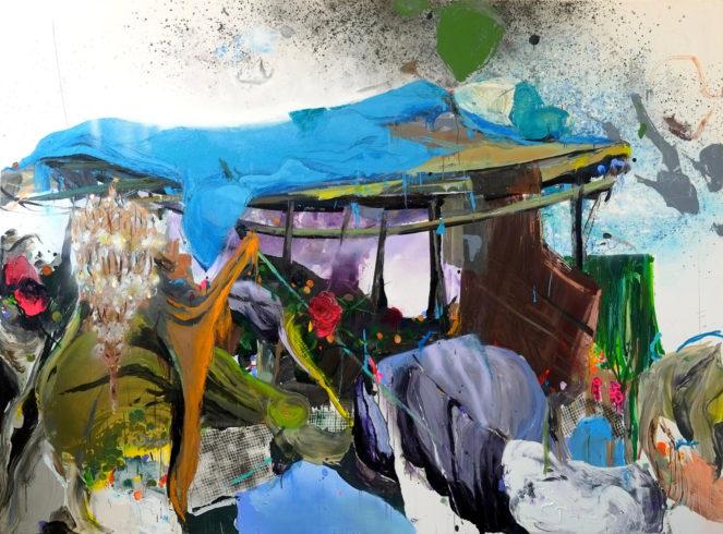 Krippe, 2018, Öl und Acryl auf Leinwand, 200 x 270 cm © VG Bild-Kunst, Bonn 2018/ Stephanie Abben, Foto: Stephanie Abben
