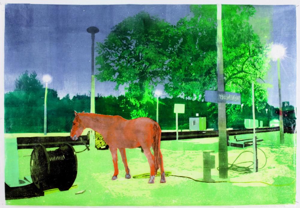 Der wilde Osten, 2006 Holzschnitt, 76,5 x 111 cm VG Bild-Kunst, Bonn 2019 / Uta Zaumseil, Foto: Christof Beer