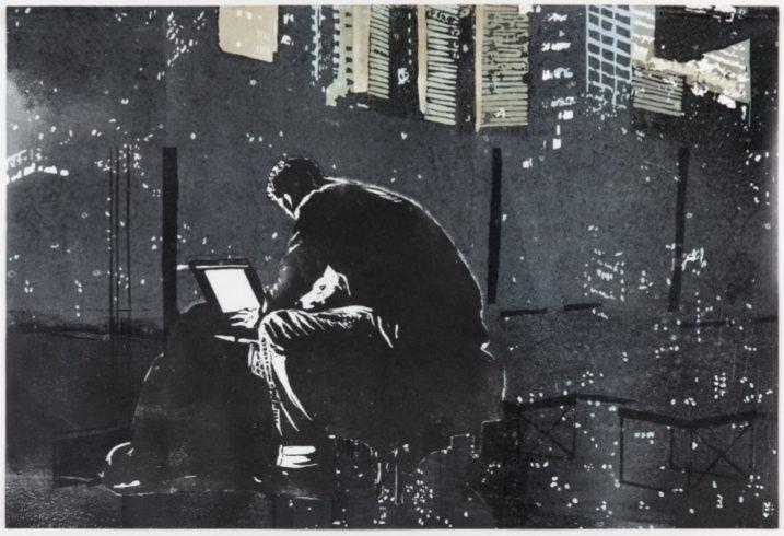 Online, 2018, Linolschnitt, 42 x 58 cm ©VG Bild-Kunst, Bonn 2019/ Uta Zaumseil, Foto: Christof Beer