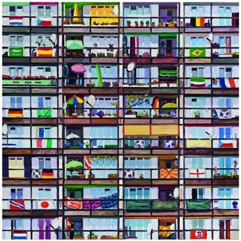 Sozialpalast (WM 2006) 2016 Öl/Lwd. 200 x 200 cm