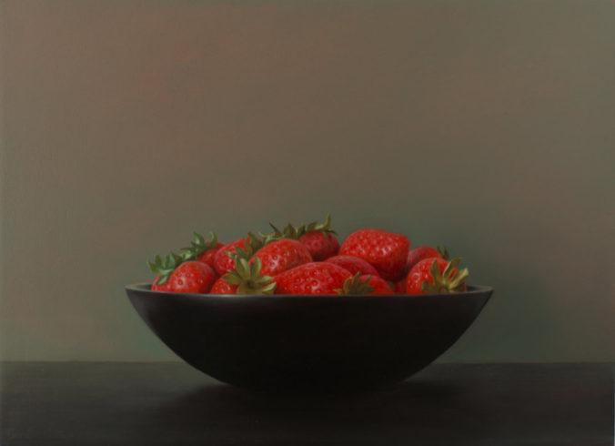 Erdbeere, 2019, Öl auf MDF, 24,5 x 33,6 cm