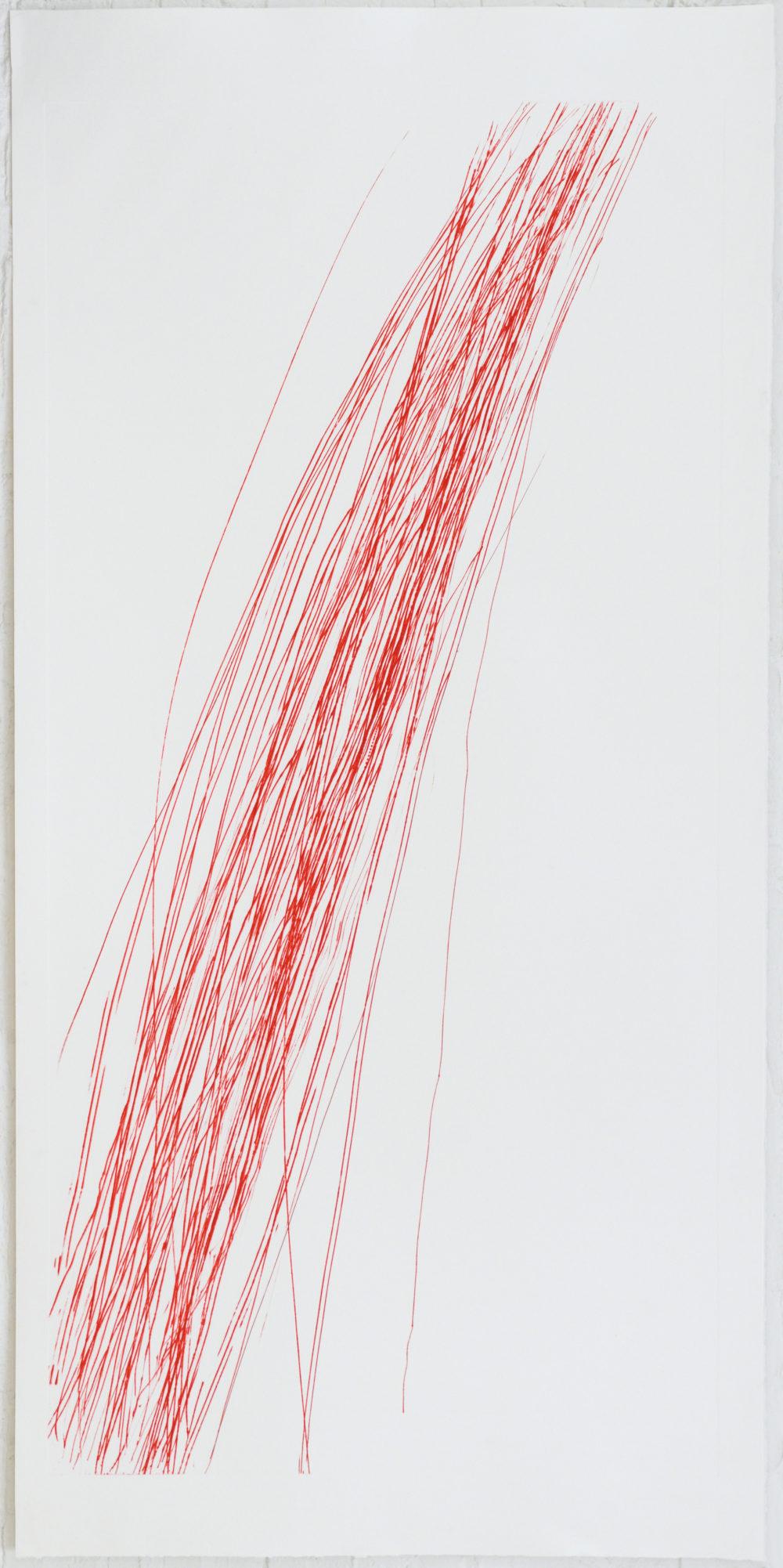 Roter Bogen, 2018 A02, Radierung/ Kaltnadel auf Polystyrol, 224 x 110,5 cm, VG Bild-Kunst, Bonn 2019 / Barbara Grosse, Foto: Archiv der Künstlerin