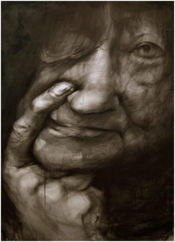 Porträt 3, 2019, Bleistift, Grafit, 145 x 100 cm © und Foto: Piotr Sonnewend
