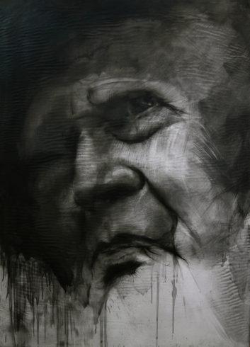 Porträt M 4, 2018, Grafit, Bleistift, 145 x 100 cm © und Foto: Piotr Sonnewend