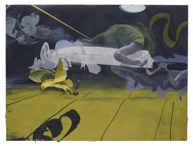 Die Flucht von Ogigya, 2014, Öl, Acryl, Collage auf Linoleum, 150 x 200 cm © Ruprecht von Kaufmann, Foto: Stefan Maria Rother, Berlin
