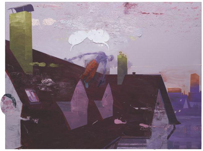 Hard Hand to Hold, 2016, Öl und Collage auf Linoleum, 181 x 241,5 cm © Ruprecht von Kaufmann, Foto: Stefan Maria Rother, Berlin