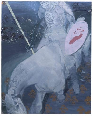Der Junge auf dem weißen Pferd (Knight in White Amor), 2018, Öl auf Linoleum auf Holz, 153 x 122,5 cm © Ruprecht von Kaufmann, Foto: Stefan Maria Rother, Berlin