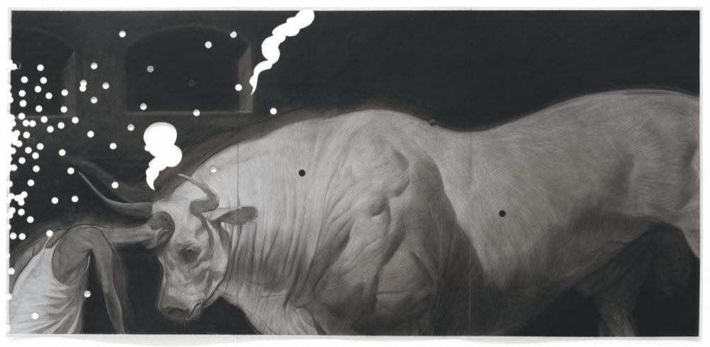 Der Stierkämpfer, 2019, Kohle auf Papier, 210 x 100 cm © Ruprecht von Kaufmann, Foto: Stefan Maria Rother, Berlin