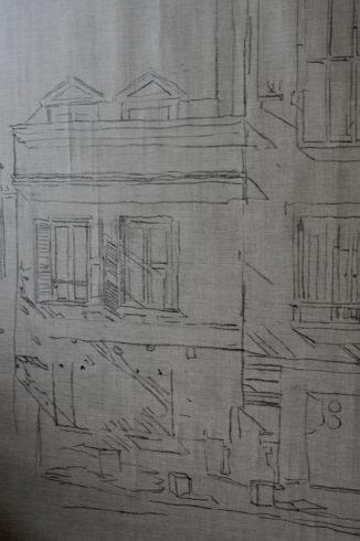 Häuserfront Vorzeichnung
