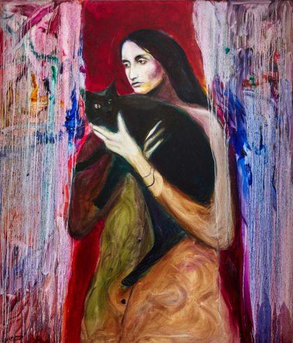 Joan Baez mit schwarzer Katze, 2019, Öl auf Leinwand, 140 x 120 cm, © Yury Kharchenko, Foto: Daniel Cati