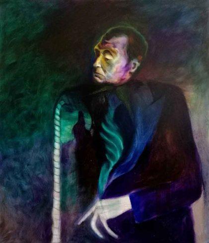 Jorge Luis Borges, 2019, Öl auf Leinwand, 140 x 120 cm, © Yury Kharchenko, Foto: Daniel Cati
