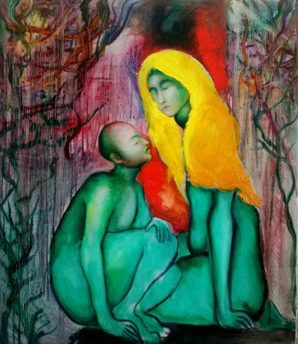 Mutter und Kind, 2019, Öl auf Leinwand, 140 x 130 cm